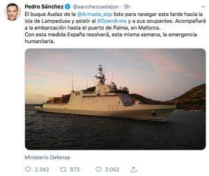 Il tweet del premier Pedro Sanchez che informa che una nave spagnola scorterà la Open arms