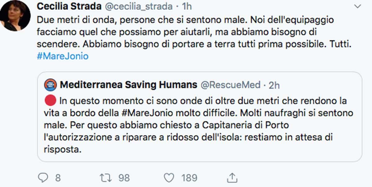 Nave Mare Jonio, Salvini rifiuta la richiesta di sbarco in Italia