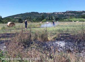 Montefiascone - Incendio di sterpaglie nella valle del lago