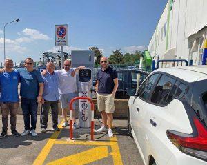 Viterbo - Il gruppo di Fratelli d'Italia alla colonnina elettrica per auto