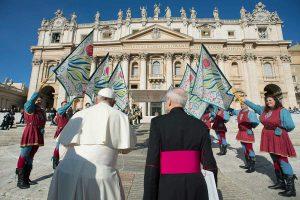 Gli Sbandieratori di Santa Rosa da Papa Francesco