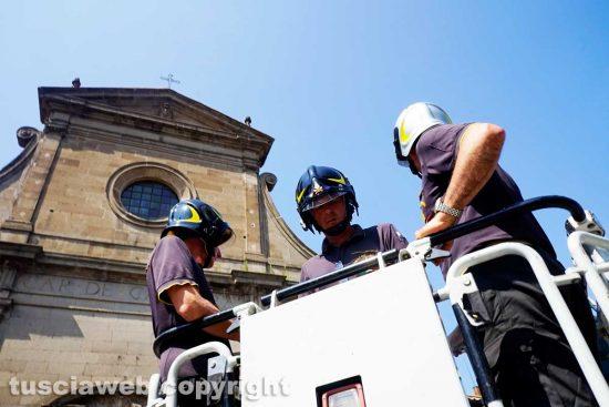 Viterbo - La verifica dei vigili del fuoco al duomo