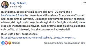 Il post di Luigi Di mio su i 20 punti del programma del M5s