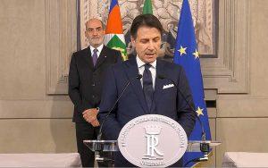Roma - Giuseppe Conte legge la lista dei ministri del suo secondo governo