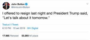 Il Tweet di John Bolton