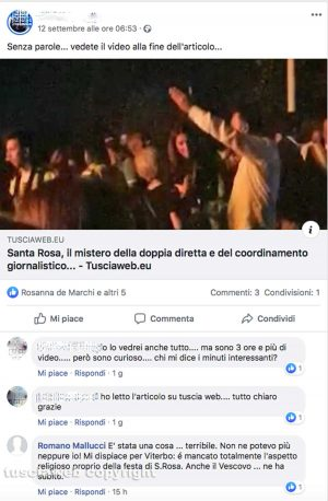 Santa Rosa - Diretta Social - Il commento su Facebook di Romano Mallucci, frate Agostino Mallucci ex parroco di San Francesco