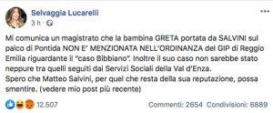 Il post di Selvaggia Lucarelli su Salvini che invita una bambina di Bibbiano sul palco di Pontida