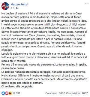 Il post di Matteo Renzi che annuncia la scissione dal Pd