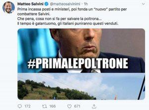 Il Tweet di Matteo Salvini che commenta la decisione di Renzi di lasciare il Pd
