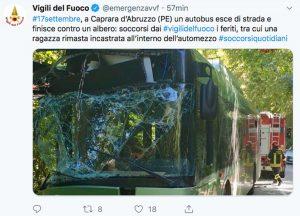 Il Tweet dei vigili del fuoco sull'incidente a Caprara d'Abruzzo
