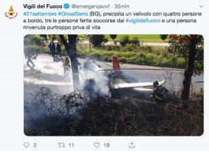 Orio al Serio - Il Tweet dei vigili del fuoco sull'incidente dell'ultraleggero