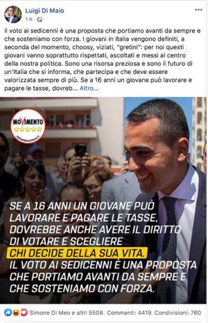 Il post di Luigi Di Maio sul voto ai ragazzi di 16 anni