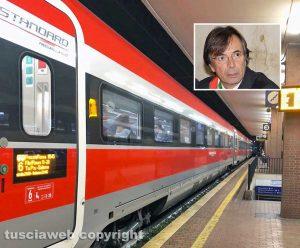 Il treno Frecciarossa fermo alla stazione di Orte - Nel riquadro il sindaco Angelo Giuliani