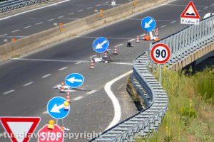 Viterbo - Superstrada - Il cantiere all'altezza dello svincolo di Bagnaia