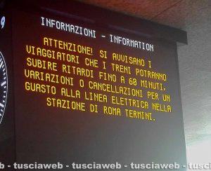 Roma Termini - L'annuncio del guasto sulla linea