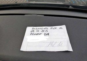 Orte - La ricevuta del parcheggio di Molegnano scritta a pennarello