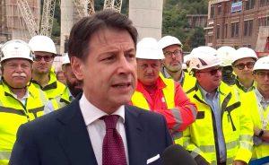 Genova - Il premier Conte alla cerimonia del nuovo viadotto Polcevera