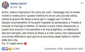 Il post di Matteo Salvini dopo il malore