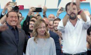 Roma - Manifestazione della Lega - Berlusconi, Meloni e Salvini