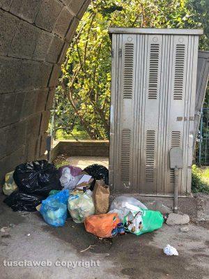 Rifiuti abbandonati in strada a Bagnaia