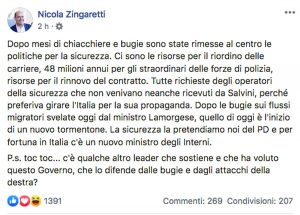 Il post di Nicola Zingaretti in difesa del ministro dell'Interno Luciana Lamorgese