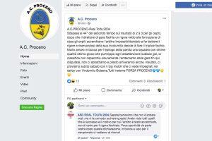 Sport - Calcio - Il post Facebook del Proceno