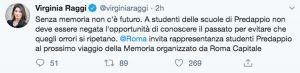 Il Tweet di Virginia Raggi che invita gli studenti di Predappio a partecipare al viaggio della Memoria con i ragazzi di Roma
