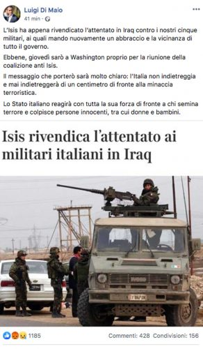 Il post di Luigi Di Maio sull'attentato in Iraq che ha colpito i militari italiani