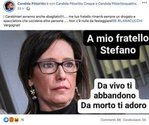 Stefano Cucchi - Il post sul profilo di Candida Pittoritto