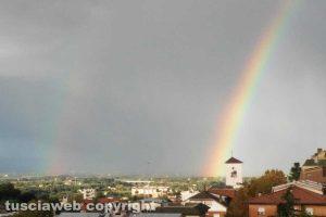 Viterbo - Doppio arcobaleno sul cielo della Mazzetta
