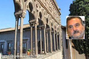 Viterbo - La loggia dei papi; nel riquadro: Enrico Panunzi