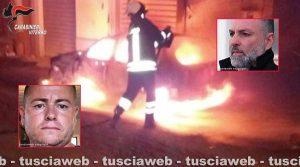Mafia viterbese - Una delle vetture date alle fiamme (nei riquadri Giuseppe Trovato e Ismail Rebeshi)