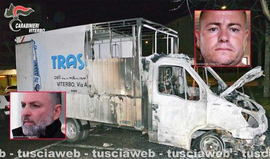 Mafia viterbese - Furgone in fiamme a Viterbo - Nei riquadri Ismail Rebeshi e Giuseppe Trovato