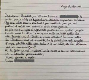 Vallo della Lucania - La lettera di Lavinia per il presidente del consiglio Giuseppe Conte