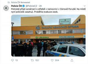 Il post della polizia sulla sparatoria nell'ospedale di Ostrava