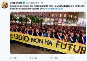 Il Tweet di Beppe Sala sulla marcia per Liliana Segre