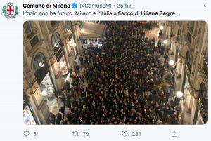 Il Tweet del comune di Milano sulla marcia per Liliana Segre