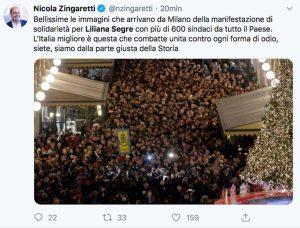 Il Tweet di Nicola Zingaretti sulla marcia per Liliana Segre