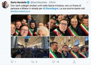 Il Tweet di Dario Nardella sulla marcia per Liliana Segre
