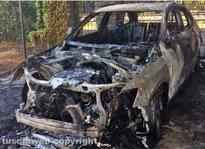 Viterbo – La macchina dell'avvocato Alabiso distrutta dalle fiamme