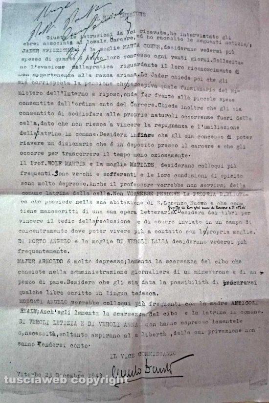 Viterbo - Il documento della questura