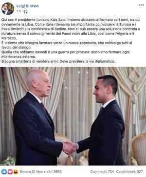Il post di Luigi Di Maio sull'incontro con il presidente tunisino