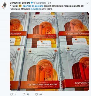 Il Tweet del comune di Bologna sulla candidatura Unesco dei portici