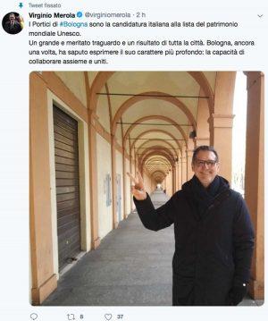 Bologna - Il Tweet del sindaco Virginio Merola sulla candidatura dei portici a patrimonio dell'Unesco