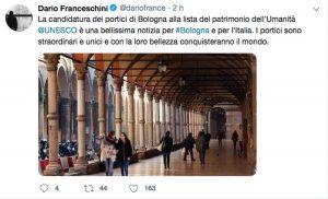 Il Tweet di Dario Franceschini sulla candidatura dei portici a patrimonio dell'Unesco