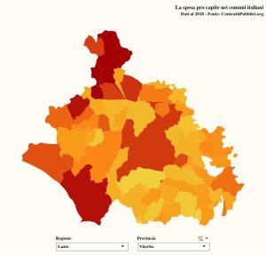 Economia - La mappa della spesa per contratti pubblici nei comuni della Tuscia