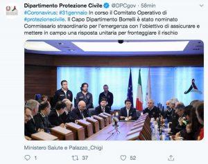 Roma - Il Tweet della protezione civile per la nomina di Borrelli a commissario straordinario