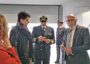 Il presidente dell'Adsp, Francesco Maria di Majo; il comandante della direzione marittima del Lazio, Vincenzo Leone e il sindaco di Civitavecchia Ernesto Tedesco