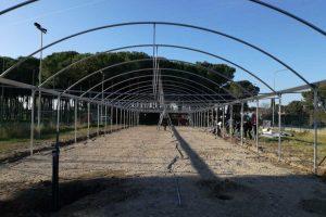 Tarquinia - Il montaggio della serra climatizzata al Cardarelli