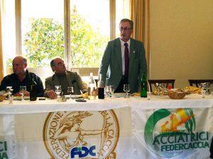 Il presidente nazionale di Federcaccia Buconi al pranzo di fine stagione